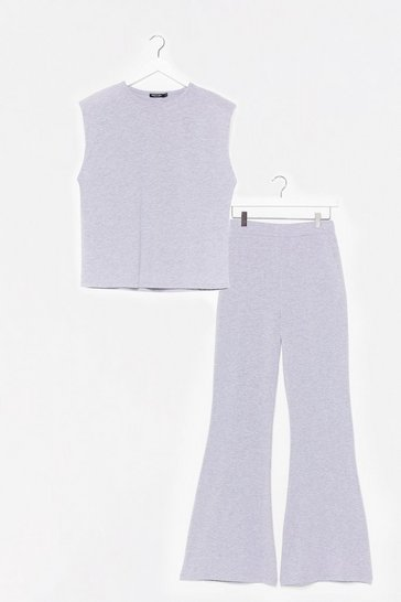 Grey We Could Be Together Tank Top and Flare Pants Set