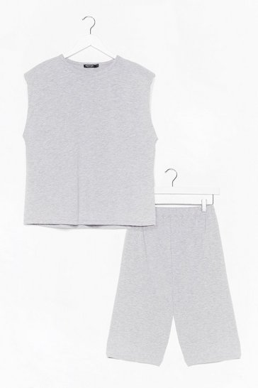 Grey You and Tee Tank Top and Biker Short Set