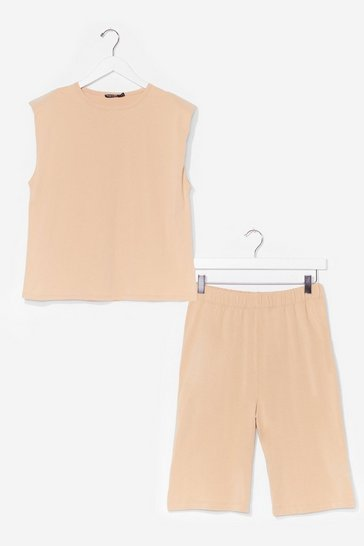 Sand You and Tee Tank Top and Biker Short Set