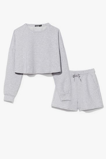 Grey You and Me Together Sweatshirt and Shorts Set