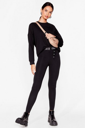 Ensemble de confort sweat & legging Je suis tranquille chez moi, Black