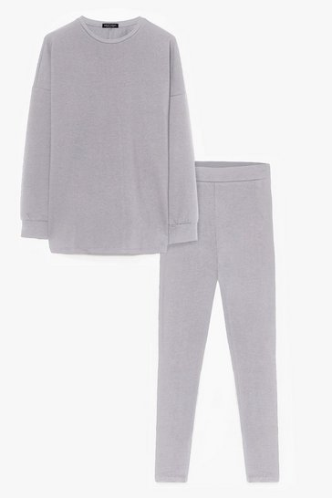 Ensemble de confort sweat & legging Je suis tranquille chez moi, Grey