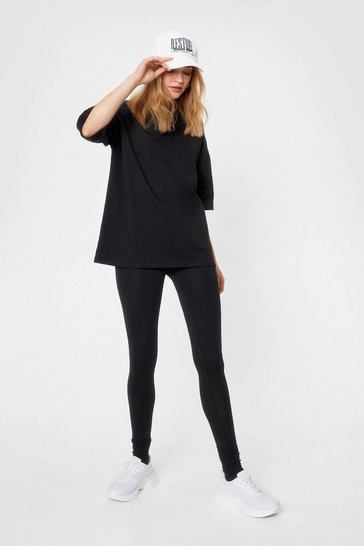 Black And Relax Oversized Tee and Leggings Set