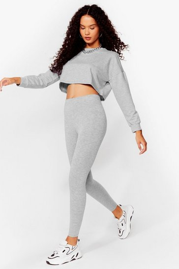 Grey Take a Break Cropped Sweatshirt and Leggings Set