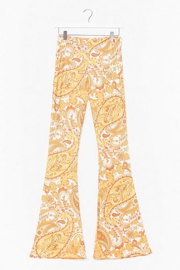 Gold Hard Work Paisley Off Flare Pants