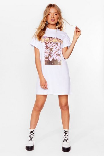 White Picture This Floral Graphic Mini Dress