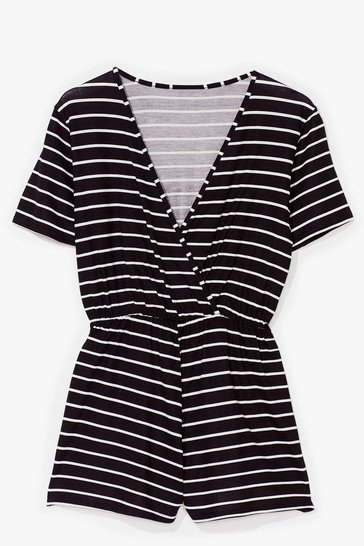 Black Wrapped Up in the Moment Stripe Relaxed Romper