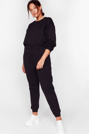Black Crew Neck Sweatshirt And Sweatpant Set