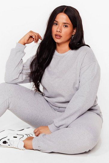 Grey Crew Neck Sweatshirt And Sweatpant Set