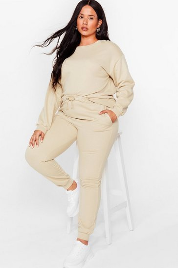 Grande taille - Ensemble sportif sweat & pantalon de jogging, Nude