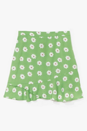Green PLUS SIZE DAISY PRINT FLIPPY HEM MINI SKIRT