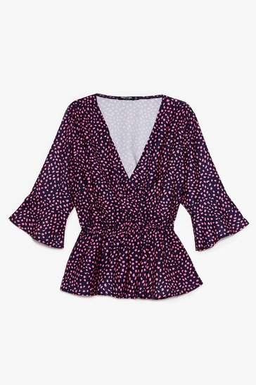 Black Plus Size Pink Animal Print Peplum Top