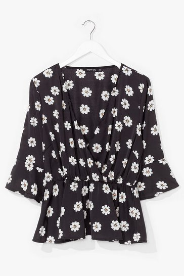 Black Plus Size Daisy Floral Wrap Top