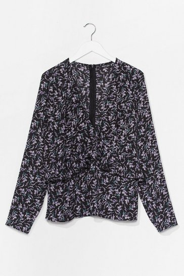 Black Floral or Less V-Neck Plus Blouse