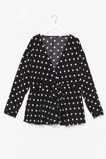 Black Don't Tie to Me Plus Polka Dot Blouse