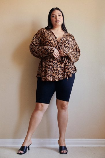 Brown Wild Nights Animal Plus Blouse