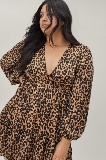 Brown Plus Size Leopard Print V Neck Smock Dress