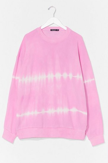 Pink Tie Dye My Love Oversized Plus Sweatshirt