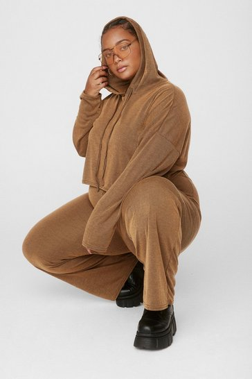Camel What's the Chill Plus Wide-Leg Pants Lounge Set