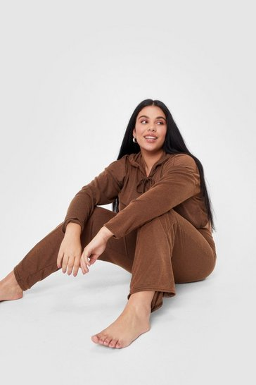 Coffee What's the Chill Plus Wide-Leg Pants Lounge Set