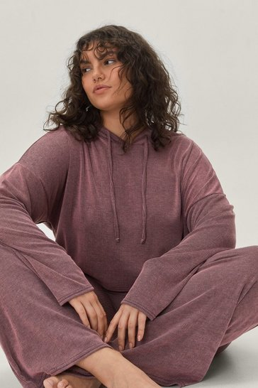 Pink What's the Chill Plus Wide-Leg Pants Lounge Set