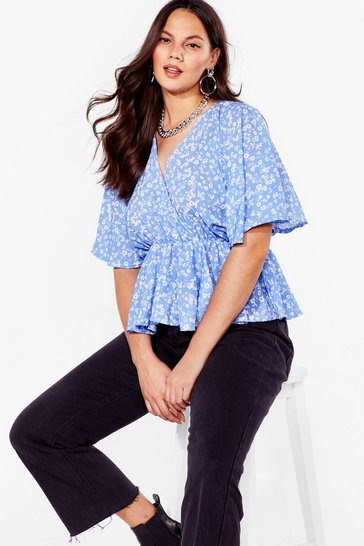 Blue Wrap It Up Plus Floral Top