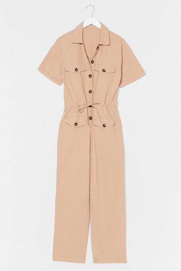 Taupe Like Button Wouldn't Melt Drawstring Boilersuit