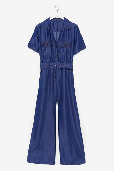 Blue Short Sleeve Belted Denim Jumpsuit