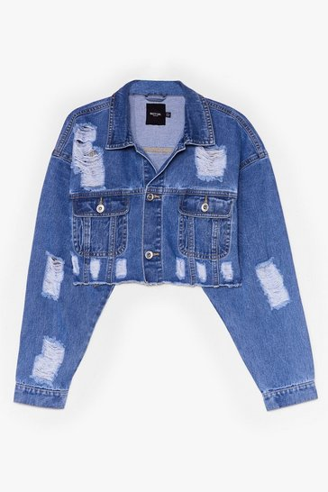Mid blue Extreme Distressed Cropped Denim Jacket