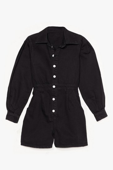 Black Nothing But-ton Love Denim Balloon Sleeve Romper