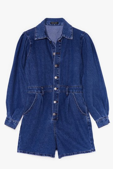 Mid blue Nothing But-ton Love Denim Balloon Sleeve Romper