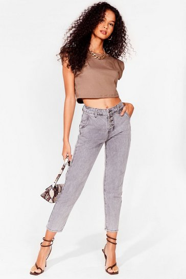 Grey Acid Wash Button Up Mom Jeans