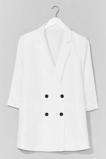White If It Suits You Double Breasted Blazer