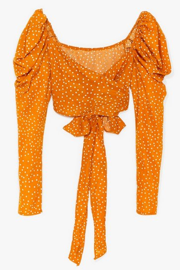Yellow Tie Me Out Spotty Crop Blouse