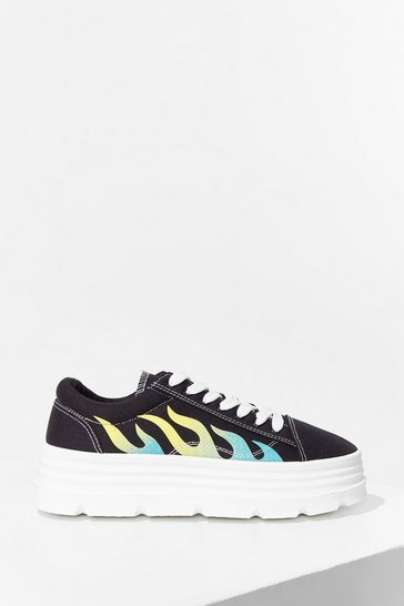 Black Let's Groove Flame Platform Sneakers