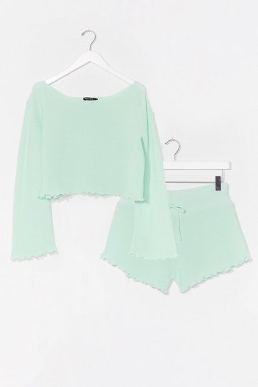 Mint Jump Into Bed Jumper and Ruffle Shorts Lounge Set
