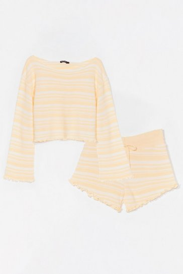 Lemon Jump Into Bed Striped Ruffle Sweater & Short Set