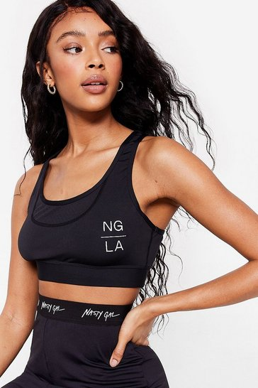 Black Personal Best Workout Crop Top
