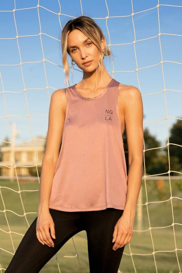 Mauve Work It Out Workout Racerback Top