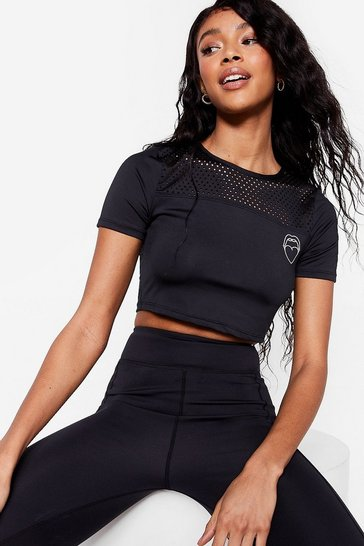 Black Perforated Detail Workout Crop Top