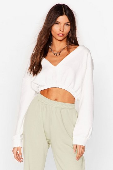 Cream Let It V Cropped Sweatshirt