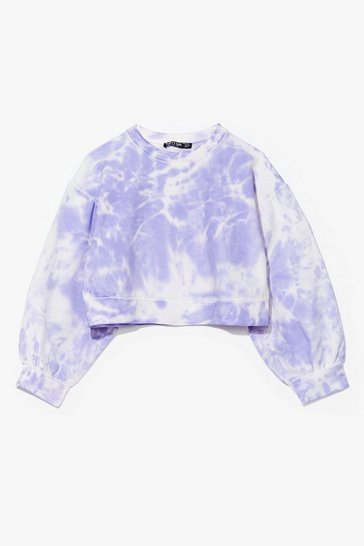 Lilac Oh My Love Tie Dye Cropped Sweatshirt