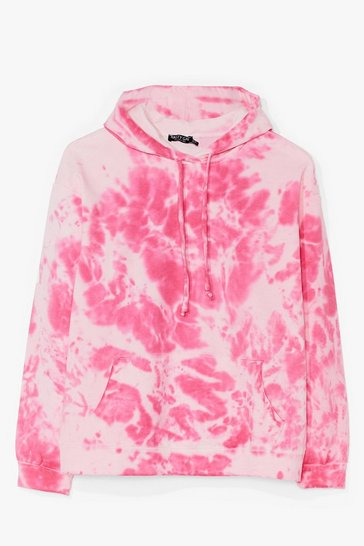 Pink Stain in Your Lane Tie Dye Hoodie