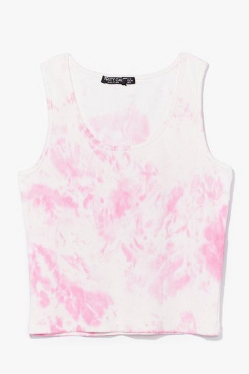 Pink Be My Baby Tie Dye Cropped Tank Top