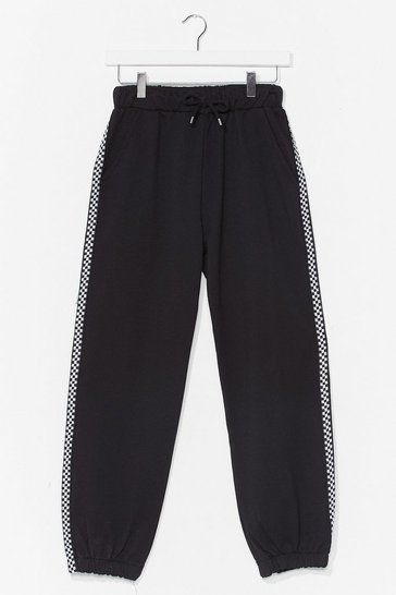 Black Get Stripe to It High-Waisted Relaxed Jogger