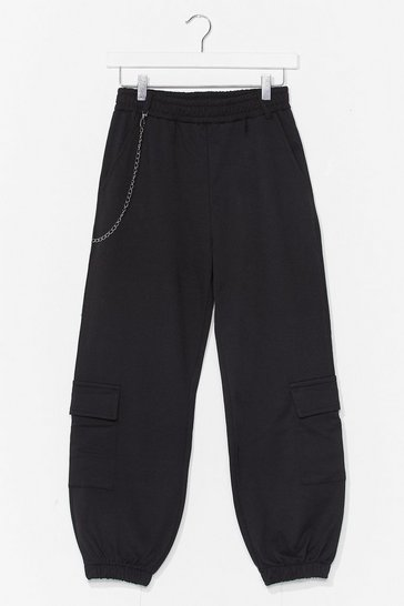Black chain detail cargo pant