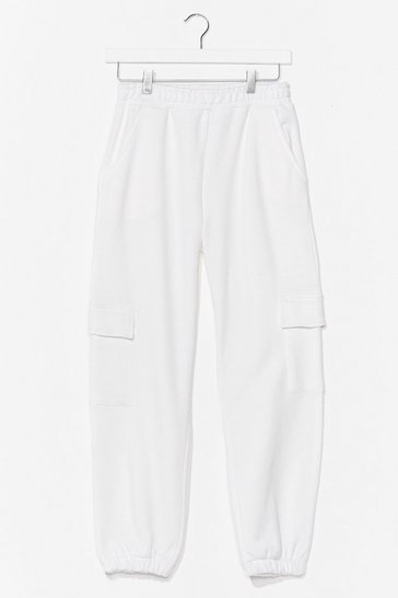 White Precious Cargo High-Waisted Pants