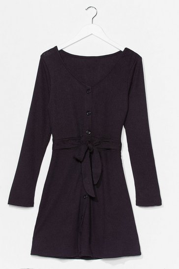 Black We Be-Sleeve You Button-Down Mini Dress