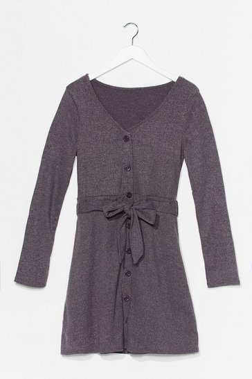 Charcoal We Be-Sleeve You Button-Down Mini Dress