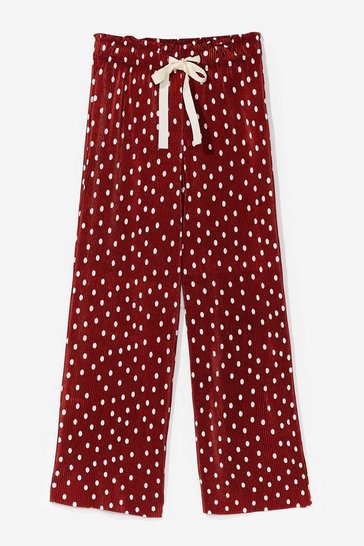 Red Pretty Plisse Polka Dot Wide-Leg Pants